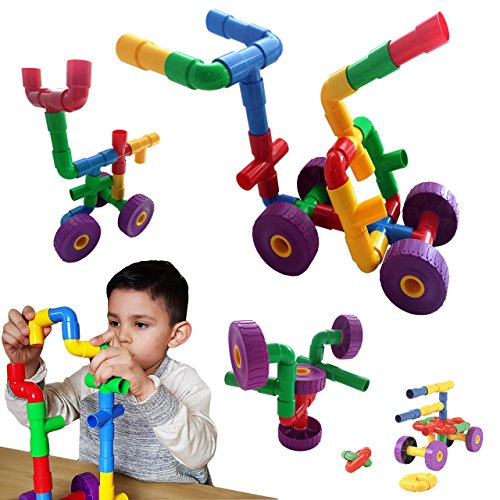 Skoolzy STEM Toys for Boys and Girls - Pipes & Joints Building Blocks...