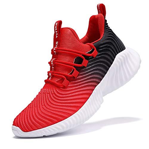VITUOFLY Kinder Sneaker Jungen Schuhe Turnschuhe Mädchen Fitnessschuhe Outdoor Sportschuhe Laufschuhe Kinderschuhe Damen Hallenschuhe Schulung Schuhe Rot Größe 41