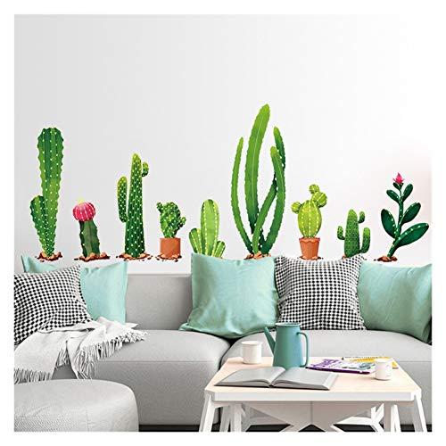 Pegatinas de pared de cactus tropicales Calcomanías de la pared DIY Decoración de la pared Decoraciones para el hogar Pegado de la pared personalizada Pegatina para la sala de estar Dormitorio TV Wall