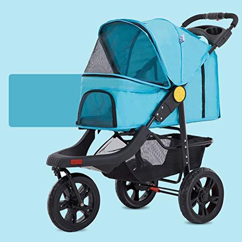 Carrito para mascotas, carro plegable portátil grande para perros de ayuda, carrito con jaula para bebés, carro de viaje al aire libre a prueba de golpes a prueba de golpes para mascotas, peso del rodamiento 25 kg,Green
