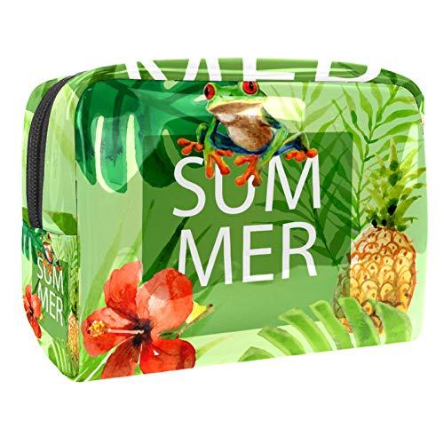 Bolsa de maquillaje porttil con cremallera, bolsa de aseo de viaje para mujeres, prctica bolsa de almacenamiento cosmtico de verano rana verde tropical