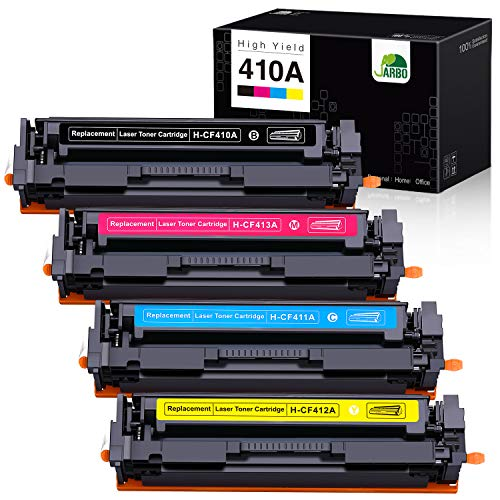 JARBO Compatible Toner Cartridges for HP 410A CF410A, 1 Set, Compatible with HP Laserjet Pro MFP-M477FDW M477FDN M477FNW M452DN M452DW M452NW Printer (1 Black, 1 Cyan, 1 Magenta, 1 Yellow)