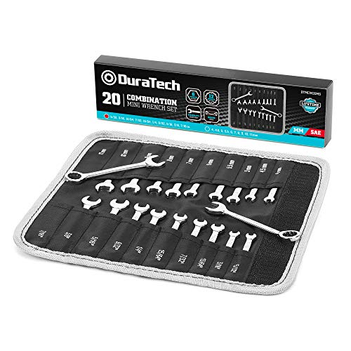 DURATECH Midget Wrench Set, Mini Combination Wrench Set, Metric & SAE, 20-Piece, 4-11mm & 5/32