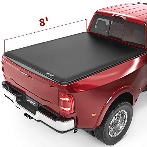 oEdRo Soft Roll Up Truck Bed Tonneau Cover Compatible with 2002-2018 Dodge Ram 1500, 2003-2020 Dodge Ram 2500 3500 (Incl. 2019 New Body), Fleetside 8 Feet Bed