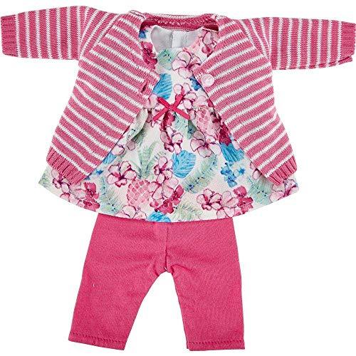 Käthe Kruse 0136830 Kleid Blumendruck, Strickjacke und Leggings 30-33 cm, pink