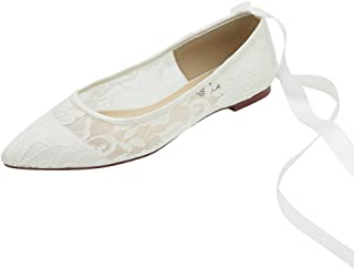 Women Wedding Flats Pointed Toe Ribbon Tie Lace Comfort Shoes for Bride Ivory