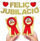 Inedit Festa Feliz Jubilado Jubilada Escarapelas Rojas Honoríficas y Guirnalda Feliç jubilació ó Merescuda Jubilació (Català)