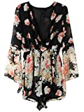 Persun Women Limited Black Floral Print Romper Playsuit With Long Flare Sleeves,Medium,Black,Black,Medium