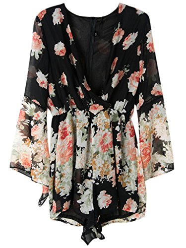 Persun Women Limited Black Floral Print Romper Playsuit With Long Flare Sleeves,XX-Large,Black