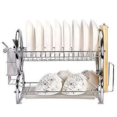Corodo Dish Rack with DrainBoard, 2-Tier Chrome Plating Iron Dish Drying Rack with Forks or Knives and Cutting Board Holder