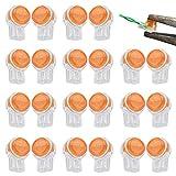 KBNIAN 20 Pcs Conectores de Empalme K1 Conector UY Conectores para Empalmar Cables Eléctricos con Gel de Sellado para Conexión Rápida de 2 Alambres, Cables de Red/Datos/Telefólos - Naranja + Blanco