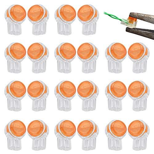 KBNIAN 200 Stück UY Stecker K1 Anschluss UY-Anschluss Klemme Kabel Verbinder mit Dichtungsgel Fettfüllung zum Verbinden von zwei Drähten(Orange + Weiß)