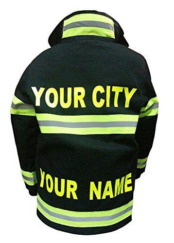 Aeromax Personalized Jr. Firefighter Suit / Bunker Gear, Black or TAN, (4/6, Black)