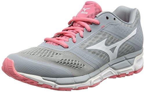 Mizuno Mizuno Synchro Mx - Zapatillas de running Mujer, color Gris - Grey (Quarry/White/Strawberry Pink), talla 42 EU (8 UK)