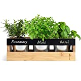 "Farmhouse Kitchen Window Planter Box - Succulent, Flower & Herb Garden - Indoor & Outdoor - Includes Bamboo Wood Rectangle Planter Box, 3 Small Plant Pots, Drainage Tray & Chalk - 14"" x 5.3"" x 4.5"""