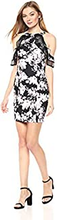 Bebe Women's Floral Printed Sheath Dress With Cold Shoulder Ruffle Sleeve Cocktail Dress