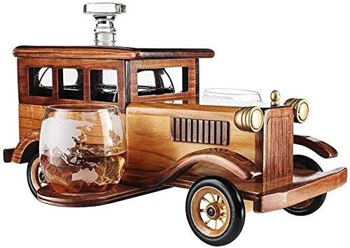 Vasos de Whisky Jarra de Whisky 1000 ml de whisky la jarra de regalo con 2 piedras del whisky en vasos de cristal y pasado de moda del soporte del coche de la vendimia - whisky Conjunto Hombres, Usado