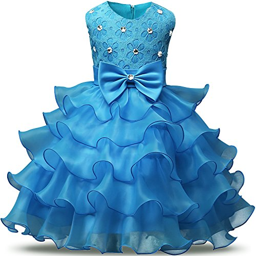 NNJXD Mädchen Kleid Kinder Rüschen Spitze Party Brautkleider Größe(140) 6-7 Jahre Hellblau