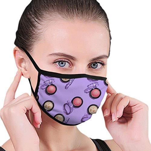 Lila Hintergrund und Zwei Arten von gebackenen Lidschatten Stoff Halbgesichtsmaske MundmaskenAnti...