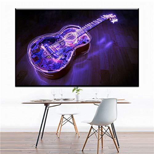 Personalidad abstracta creativa fuego guitarra lienzo