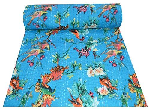 Just Contempo Couvre-lit réversible indien Motif floral et fleurs Bleu Gudri pur coton Style Kantha Taille Queen Size Couvre-lit floral et turquoise 228,6 x 228,6 cm