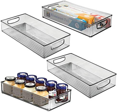 mDesign Plastic Stackable Kitchen Pantry Cabinet Refrigerator or Freezer Food Storage Bin with product image