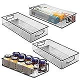 mDesign Juego de 4 cajas organizadoras con asas – Práctico organizador de frigorífico para almacenar alimentos – Contenedor de plástico sin BPA para los armarios de la cocina o la nevera – gris humo