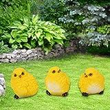 Emoshayoga Estatua de gallina simulada Respetuoso con el Medio Ambiente Durable No tóxico y sin olores Resina de Color Brillante Brond Nuevo para jardín, Patio o balcón de(A Set of 3 Chicks)
