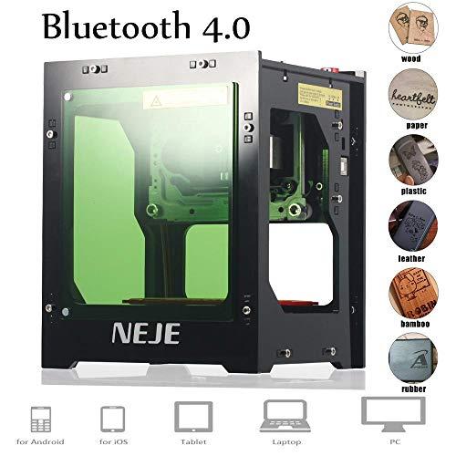 NEJE Stampante Laser Engraver, 1500mW Mini Engraving Macchina per Incisione, 550 * 550 Pixel, 405nm Wavelength, Engraving Space 42 * 42 * 78mm,6000mAh Li-ion Battery, Bluetooth 4,0 within 10 Meters