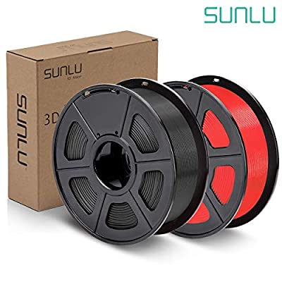 SUNLU PLA Plus Filament 1.75mm 3D Printer 3D Pens 2KG PLA+ Filament +/- 0.02 mm, Black+Red