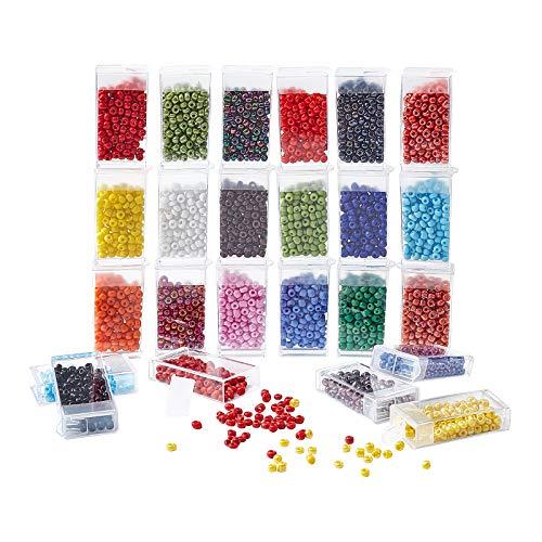 PandaHall Cuentas de semilla para hacer joyas, 24 colores 6/0 4 mm de color opaco en la cintura para DIY Belly Hawaii Bikini Jewelry pulsera, collares, cadena para el cuerpo