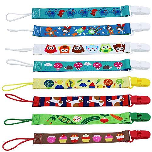 UBERMing 8 Pcs Cadenas para Chupetes Doble Cara Diseño Sujetar el Chupete con Clips de Plástico Unisex Algodón Cinta de Chupete para Bebé Niña y Niño