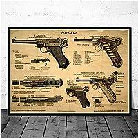 ポスターとプリントルガーピストル特許青写真銃チャート現代絵画アート絵画壁の写真リビングルームの家の装飾/ 40x60cm(フレームなし)