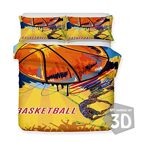 Bedding Set 3D Basketball Print 4 Pieces, Morbuy Quilt Cover Microfiber, Includes Duvet Cover with Zipper Closure*1 Pillowcases*2 FlatSheet*1 (Yellow graffiti,King-220x230cm)