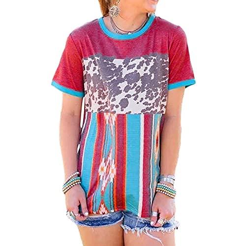 Camiseta De Manga Corta con Estampado De Cuello Redondo De Verano para Mujer
