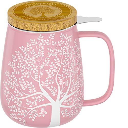 amapodo Teetasse mit Deckel und Sieb 600ml Porzellan Tasse groß, XXL Tassen Set Rosa plastikfrei