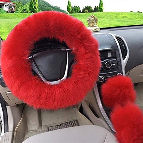 NLJYSH Dauerhaft Langer Plüsch Warm-Lenkrad-Abdeckung Wollhandbremse Autotechnik Auto-Pelz-3pc Stilvoll und schön (Color Name : Red)