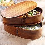 Japanische Bento Box Holz Lunchbox sicher und gesund Doppelschicht-Design Der Lunchbox Ermöglicht Es Ihnen, Kontaminationen Zu Vermeiden Und Eine Wundervolle Picknickzeit Zu Haben