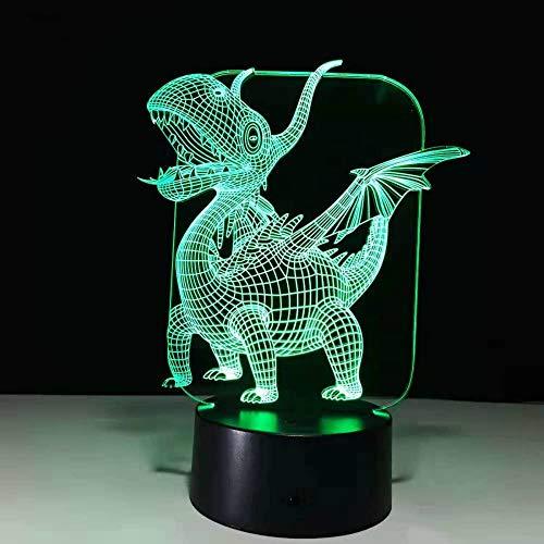 CHSYWH Luz LED de Dinosaurio 3D de Halloween, luz de Noche táctil de 7 Colores, luz de Noche de Regalo para niños