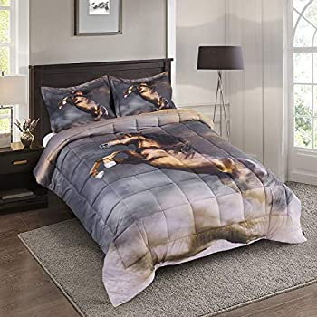 HIG 3D Bedding Set 3 Piece Queen Size Stallion Animal Print Comforter Set with Two Matching Pillow Covers -Box Stitched Quilted Duvet -General for Men and Women Especially for Children  S4,Queen