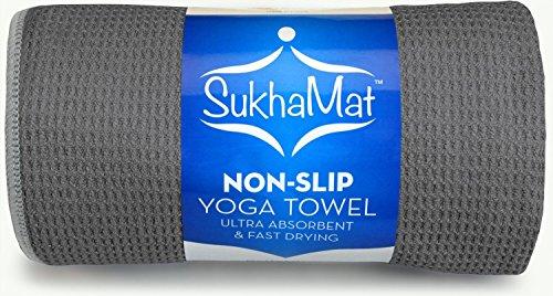 SukhaMat Rutschfestes Yoga-Handtuch, das beste rutschfeste, ultra-saugfähige, schnell trocknende Yoga-Handtuch, langlebige Mikrofaserkonstruktion, 183 cm lang, (grau)