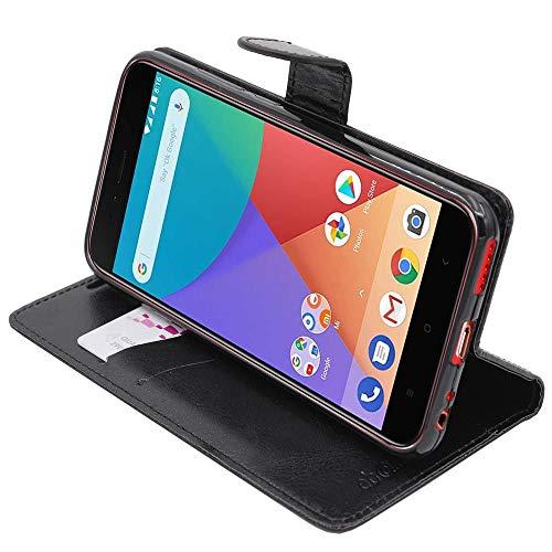 ebestStar - kompatibel mit Xiaomi Mi A1 Hülle Kunstleder Wallet Hülle Handyhülle [PU Leder], Kartenfächern, Standfunktion, Schwarz [Phone: 155.4 x 75.8 x 7.3mm, 5.5'']