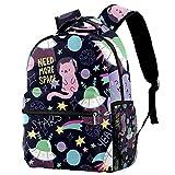 Bolsas escolares para niñas y niños, Space Stars Planets con cohetes mochila casual duradera para estudiantes, Doodle Cats Space Planet Star - Patrón de cohete,