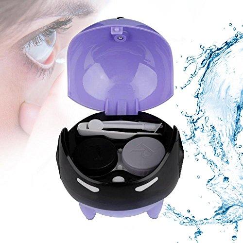 Ultraschallreiniger für Kontaktlinse, Automatische Kontaktlinse Washer Cleaner Fall Kontaktlinsenbehälter Nette Mashroom, USB Charge(Violett)