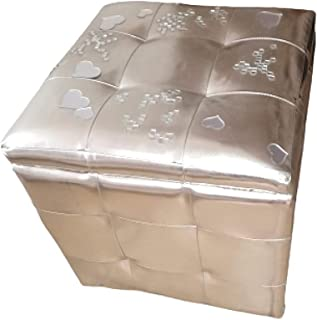 Puff ecopelle argento
