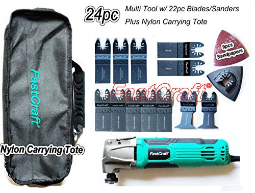 Review FastCraft 24pc Oscillating Multi Tool & Assortment Steel Saw Blades + Tote [Bulk Packaging] -...