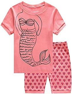 Girls Short Sleeve Pajamas Set Kids Short Pjs Sets Summer Cotton Sleepwears