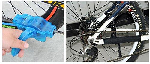 Fahrrad Kettenreinigungsgerät, FahrradKettenreiniger set mit Kettenreinigungsgerät + Kettenbürste + Ritzelbürste Bicycle Chain Cleaner für Motorrad-, Fahrrad- oder Rollerketten (Blau) - 7