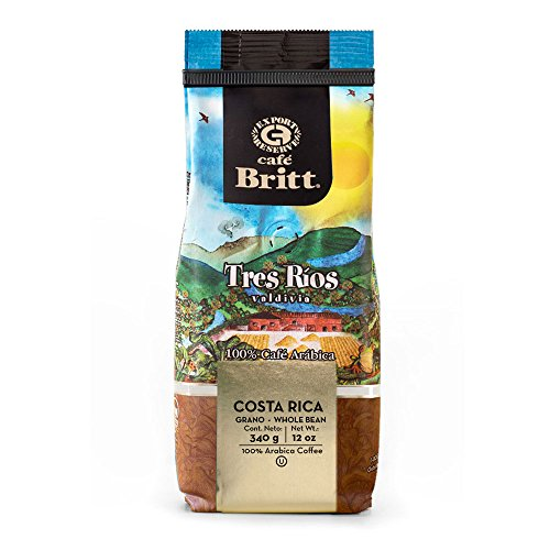 Cafe Britt Costa Rica Tres Ríos Valdivia Arabica ganze Bohne Kaffee, 340 g Packung