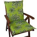 Niedriglehner Auflage Naxos für Gartenstühle 98x49 cm Blume Grün - 6 cm Starke Premium Stuhlauflage mit Komfortschaumkern - Sitzauflage Made in EU
